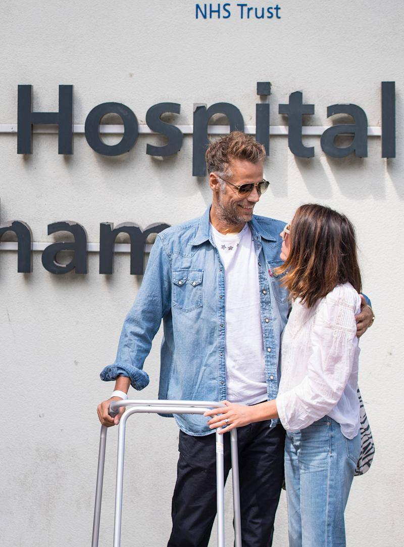Former BBC TV Blue Peter presenter Richard Bacon leaves Lewisham Hospital in south east London with his wife Rebecca. (Photo by Dominic Lipinski/PA Images via Getty Images)