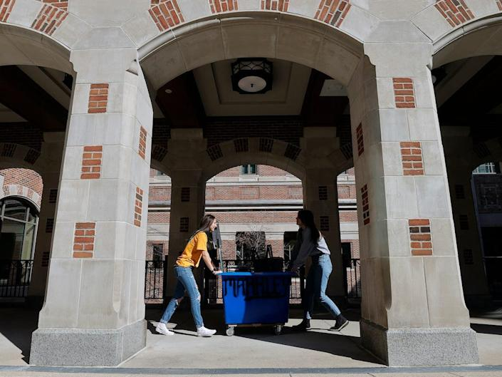 "College students moving at the University of Michigan. <p class=""copyright""><a href=""https://www.gettyimages.com/search/photographer?family=editorial&photographer=Gregory+Shamus"" rel=""nofollow noopener"" target=""_blank"" data-ylk=""slk:Gregory Shamus/Getty Images"" class=""link rapid-noclick-resp"">Gregory Shamus/Getty Images</a></p>"