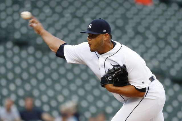 Detroit Tigers relief pitcher Joe Jimenez throws against the Baltimore Orioles in the ninth inning of a baseball game in Detroit, Monday, Sept. 16, 2019. (AP Photo/Paul Sancya)