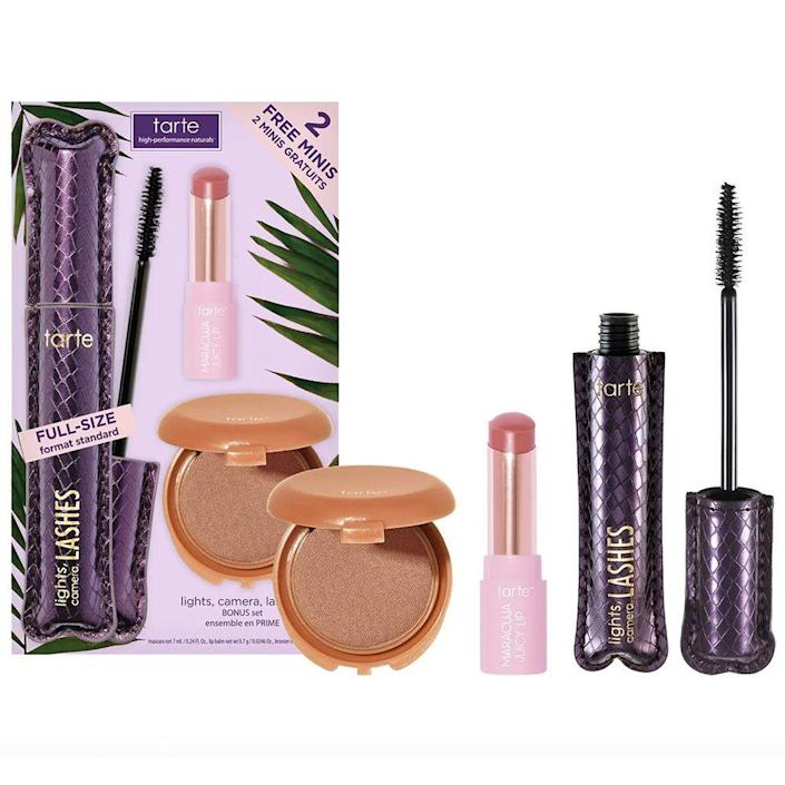 """<p><strong>tarte</strong></p><p>sephora.com</p><p><strong>$41.00</strong></p><p><a href=""""https://go.redirectingat.com?id=74968X1596630&url=https%3A%2F%2Fwww.sephora.com%2Fproduct%2Ftarte-lights-camera-lashes-trade-bonus-set-P474126&sref=https%3A%2F%2Fwww.bestproducts.com%2Fbeauty%2Fg256%2Fchristmas-holiday-beauty-gifts%2F"""" rel=""""nofollow noopener"""" target=""""_blank"""" data-ylk=""""slk:Shop Now"""" class=""""link rapid-noclick-resp"""">Shop Now</a></p><p>Have a clean beauty obsessive on your hands? Then this trio of vegan favorites from tarte. This makeup kit comes with three mini-sized versions of tarte's best-selling cosmetic favorites: the iconic Lights, Camera, Lashes 4-In-1 Mascara, pout-plumping Maracuja Juicy Lip, and the contour-enhancing Amazonian Clay Waterproof Bronzer.</p>"""