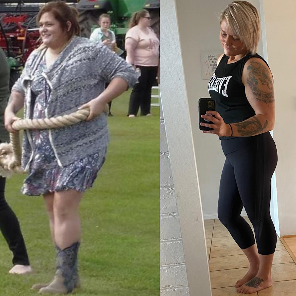 Tamara at her heaviest in a flowing dress (left) and in gym gear after weight loss (right)