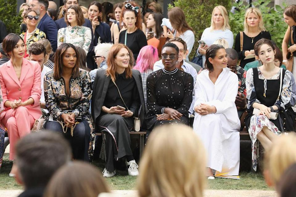 <p>Gemma Chan, Tiffany Haddish, Julianne Moore, Danai Gurira, Katie Holmes and Coulee Nazha attend the Tory Burch Spring 2019 show at Cooper Hewitt, Smithsonian Design Museum on September 7, 2018 in New York City. (Photo: Cindy Ord/Getty Images) </p>