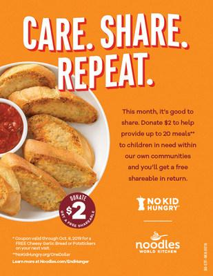 Noodles will partner with No Kid Hungry for a fourth year and offer guests a free Shareable with $2 donation during Hunger Action Month in September.