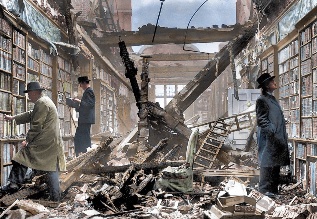 <p>The private Holland House Library in Kensington, West London, was bombed by a Luftwaffe raid in September 1940. Here, men survey the damage. (MediaDrumWorld) </p>