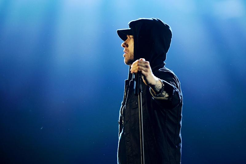 Eminem raps with 50 Cent on Ed Sheeran's new track Remember the Name. (Getty)