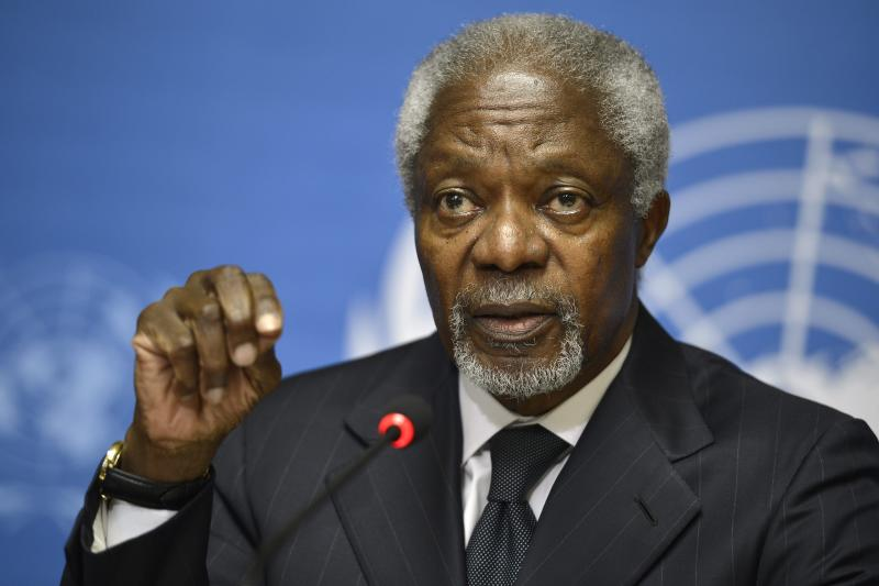 Kofi Annan, Joint Special Envoy of the United Nations and the Arab League for Syria, speaks during a press briefing, at the European headquarters of the United Nations, UN, in Geneva, Switzerland, Thursday Aug. 2, 2012. Annan is stepping down as UN Arab League mediator in the 17-month-old Syria conflict at the end of the month, U.N. chief Ban Ki-moon said in a statement on Thursday. (AP Photo/Keystone, Martial Trezzini)