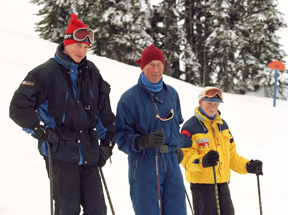 Prince Charles skiing with sons Prince William and Prince Harry