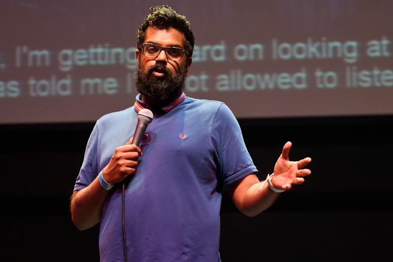 LONDON, ENGLAND - JULY 01: Comedian Romesh Ranganathan performs at the Why Not People? Launch Event at Troxy on July 1, 2015 in London, England. (Photo by Joseph Okpako/Redferns via Getty Images)