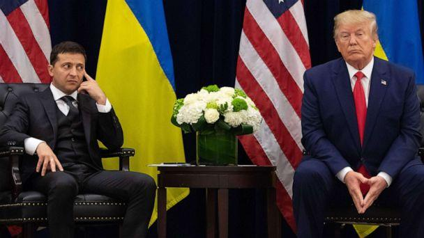 PHOTO: President Donald Trump and Ukrainian President Volodymyr Zelensky looks on during a meeting in New York on the sidelines of the United Nations General Assembly on Sept. 25, 2019. (Saul Loeb/AFP via Getty Images, FILE)