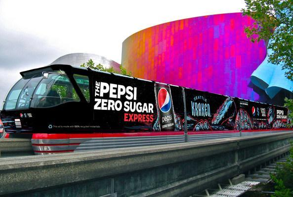 To celebrate the new partnership between PepsiCo Beverages North America (PBNA) and Seattle Kraken, as well as their commitment to sustainability, a monorail train on the Seattle Center Monorail will be packaged as the Pepsi Zero Sugar Express with epic moments and without excuse for the fans.