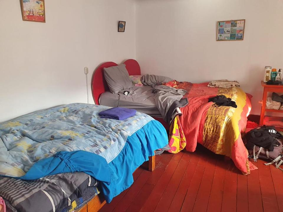 The bedroom which has been Steff Kidd's home for the past fortnight.