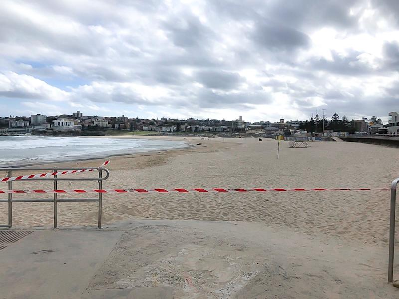 Bondi Beach closed to the public on Saturday afternoon. Source: Supplied