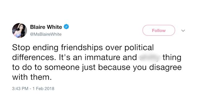 In this image, Blaire White expresses her opinion on Twitter (Image: Blaire White via Twitter)