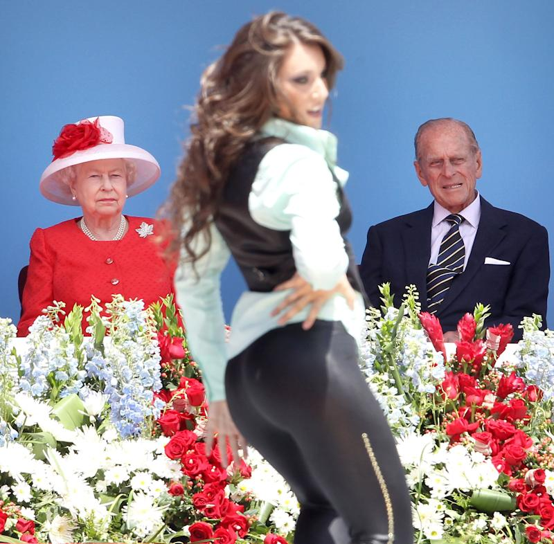 Queen Elizabeth II and Prince Philip, Duke of Edinburgh watch a dancer perform during Canada Day celebrations on Parliament Hill on July 1, 2010 in Ottawa, Canada. The Queen and Duke of Edinburgh are on an eight day tour of Canada starting in Halifax and finishing in Toronto.