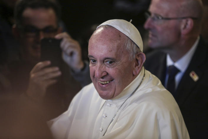 Pope Francis smiles during a meeting with Catholic priests and other Christian representatives in the cathedral of the capital, Rabat, Morocco, Sunday, March 31, 2019. Pope Francis is in Morocco for a two-day trip aimed at highlighting the North African nation's Christian-Muslim ties, while also showing solidarity with migrants at Europe's door and tending to a tiny Catholic flock. (AP Photo/Mosa'ab Elshamy)