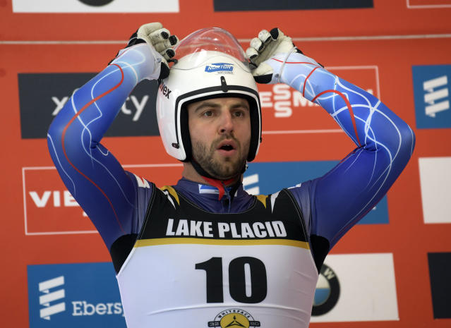 Chris Mazdzer, of the United States, prepares for the start of a qualifying run for the men's World Cup luge race on Friday, Nov. 29, 2019, in Lake Placid, N.Y. Competition begins on Saturday. (AP Photo/Hans Pennink)