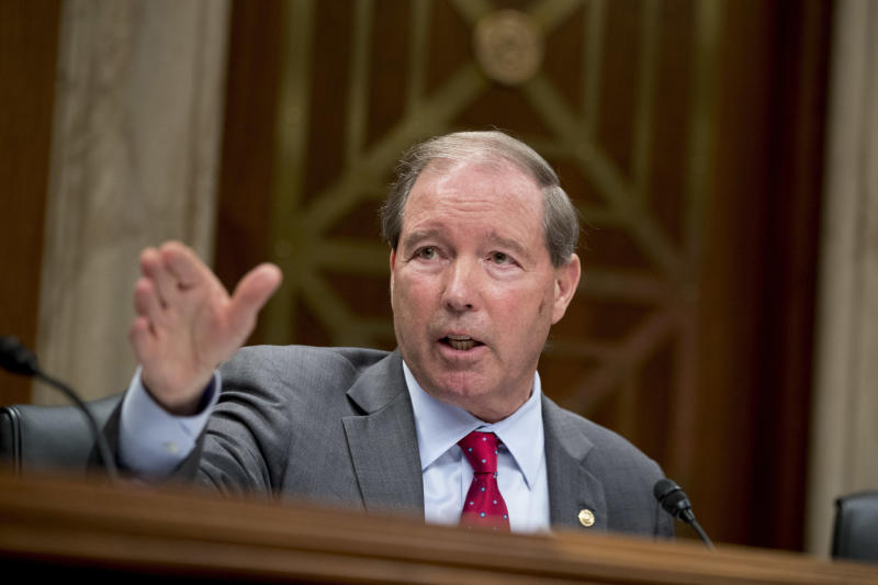 FILE - This May 16, 2018 file photo shows ranking Member Sen. Tom Udall, D-N.M., questioning Environmental Protection Agency Administrator Scott Pruitt on Capitol Hill in Washington. Udall says he will not seek re-election in 2020 in a move that opens up a securely Democratic seat to competition. Udall announced the end of a 20-year career on Capitol Hill on Monday, March 25, 2019, in a statement. (AP Photo/Andrew Harnik, File)