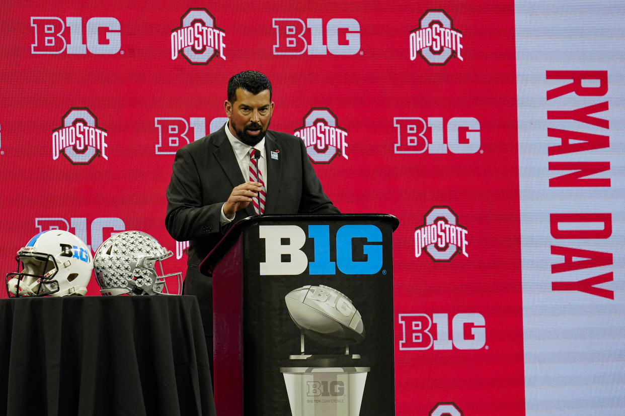 Ohio State head coach Ryan Day talks to reporters during an NCAA college football news conference at the Big Ten Conference media days, at Lucas Oil Stadium in Indianapolis, Friday, July 23, 2021. (AP Photo/Michael Conroy)