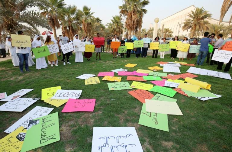 Kuwaitis gather outside the National Assembly on September 15, 2018, to protest against the government's banning in recent years of publications including the Hunchback of Notre-Dame