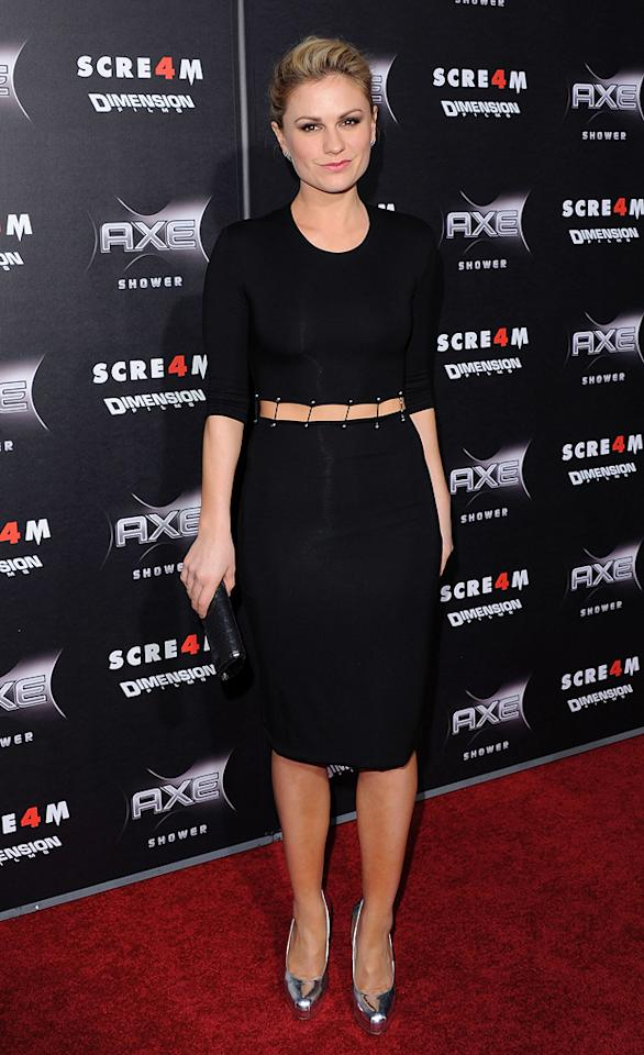 """""""True Blood's"""" <a href=""""http://movies.yahoo.com/movie/contributor/1800019045"""">Anna Paquin</a> was undoubtedly the best-dressed beauty in attendance thanks to her Cushnie et Ochs Fall 2011 frock, silver Brian Atwood """"Maniac"""" pumps, glossy pink lips, and chic updo."""