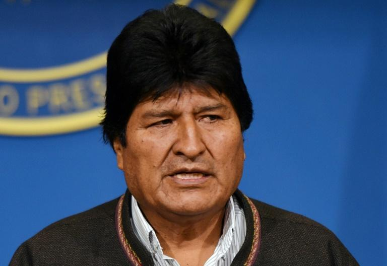 Bolivian President Evo Morales, seen here at a news conference November 10, 2019, calls new elections (AFP Photo/Enzo DE LUCA)