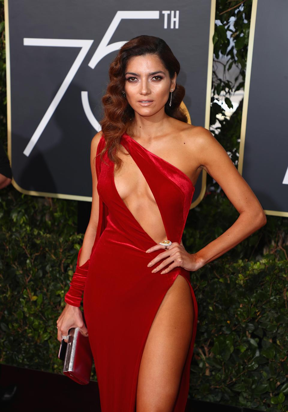Blanca Blanco was shamed for not participating in the all-black dress code at the Golden Globes and instead wearing a sexy, red dress. (Photo: Getty Images)