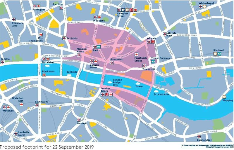 Plans include a car-free zone in central London, shown in pink on this map. Some areas like London Bridge up to Bishopsgate will have buses but no other vehicles. (Transport for London)