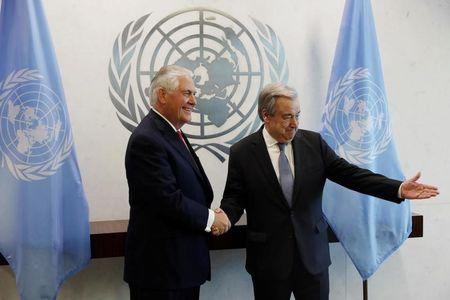 U.S. Secretary of State Rex Tillerson greets UN Secretary General Antonio Guterres at United Nations headquarters in New York City