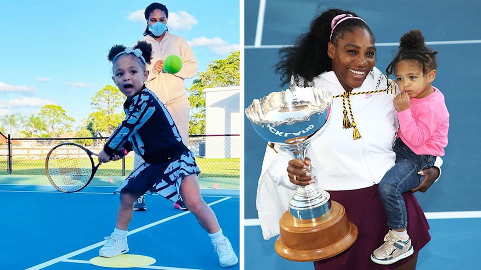 Serena Williams (pictured left) training her daughter Olympia and (pictured right) holding a trophy with her daughter.