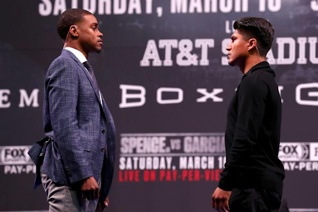 Errol Spence and Mikey Garcia will go head-to-head on Saturday for Spence's IBF world welterweight championship belt. (Getty Images)