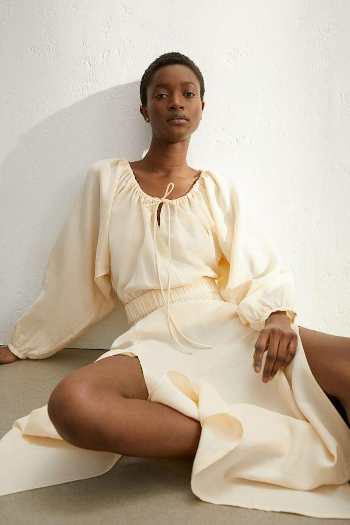 <p>This flowy <span>H&amp;M Long Lyocell-blend Dress</span> ($50) is easy to throw on and will feel so cozy.</p>