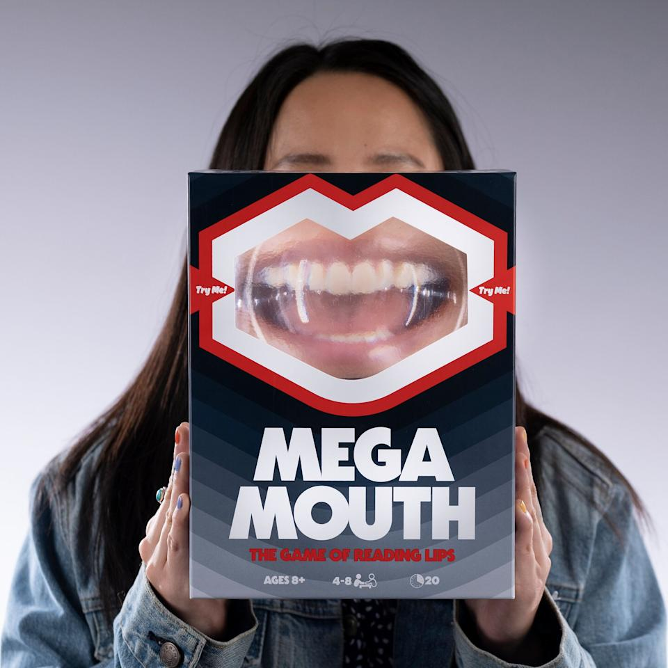 """<a href=""""https://www.target.com/p/mega-mouth-the-game-of-reading-lips/-/A-79722287"""" target=""""_blank"""" rel=""""noopener noreferrer"""">This is a fun game to play with the family. </a>But you may have to emphasize that the game is spelled """"M-E-G-A"""" and not """"M-A-G-A."""" Good luck!."""