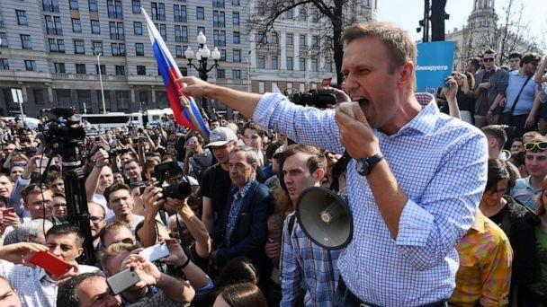 PHOTO: (FILES) In this file photo taken on May 05, 2018 Russian opposition leader Alexei Navalny addresses supporters during an unauthorized anti-Putin rally in Moscow, two days ahead of Vladimir Putin's inauguration for a fourth Kremlin term. (Kirill Kudryavtsev/AFP via Getty Images)