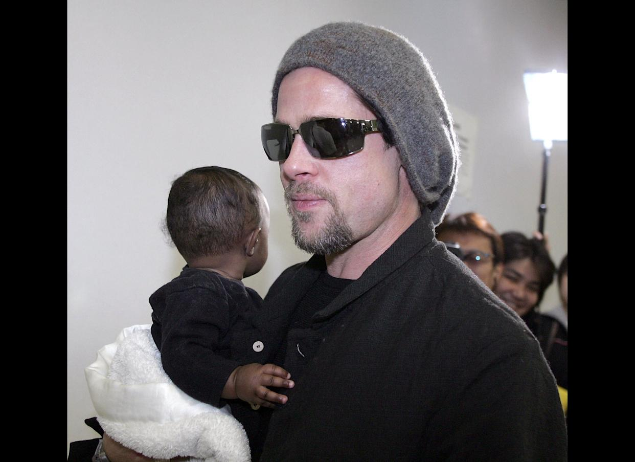 Brad Pitt and daughter, Zahara Marley Jolie, arrive in Japan. Photo: Getty Images