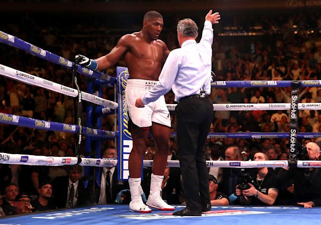 Referee Mike Griffin waves off the fight between Anthony Joshua (L) and Andy Ruiz Jr (not shown) at Madison Square Garden, New York. (Getty Images)