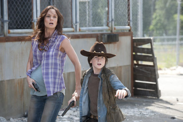"Lori Grimes (Sarah Wayne Callies) and Carl Grimes (Chandler Riggs) in ""The Walking Dead"" episode, ""Killer Within."""