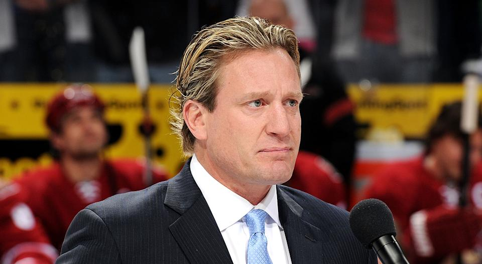 GLENDALE, AZ - FEBRUARY 11: Jeremy Roenick gets emotional as he addresses the crowd during his induction ceremony into the Phoenix Coyotes Ring of Honor prior to the game against the Chicago Blackhawks at Jobing.com Arena on February 11, 2012 in Glendale, Arizona. (Photo by Norm Hall/NHLI via Getty Images)