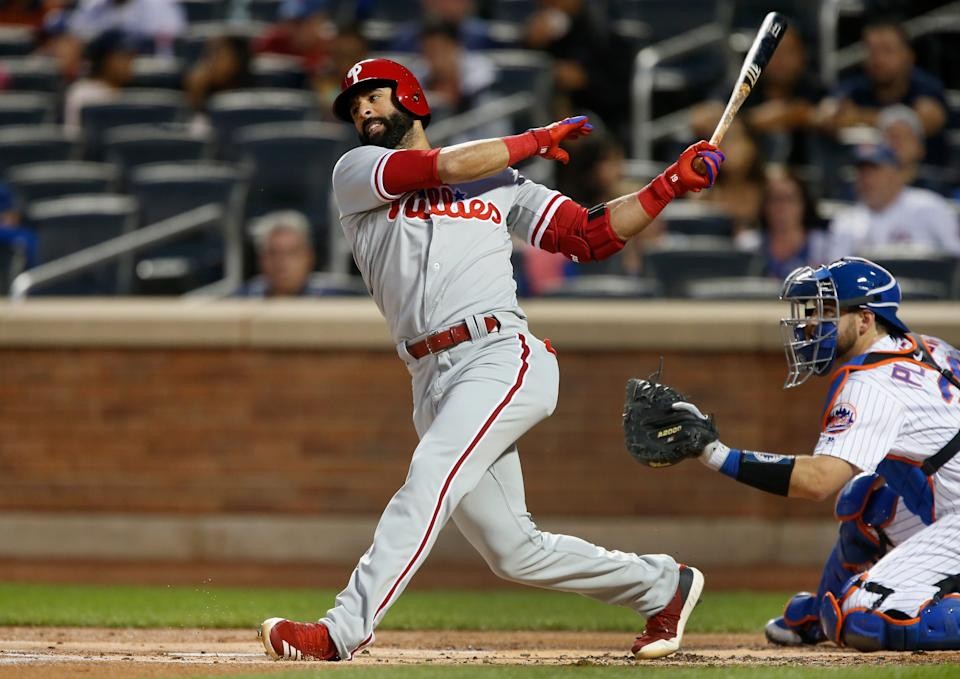 NEW YORK, NY - SEPTEMBER 07:  Jose Bautista #19 of the Philadelphia Phillies in action against the New York Mets at Citi Field on September 7, 2018 in the Flushing neighborhood of the Queens borough of New York City. The Phillies defeated the Mets 4-3.  (Photo by Jim McIsaac/Getty Images)