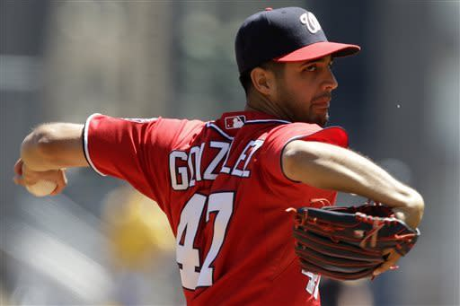 Washington Nationals starting pitcher Gio Gonzalez (47) delivers in the first inning of a baseball game against the Pittsburgh Pirates in Pittsburgh, Sunday, May 5, 2013. (AP Photo/Gene J. Puskar)