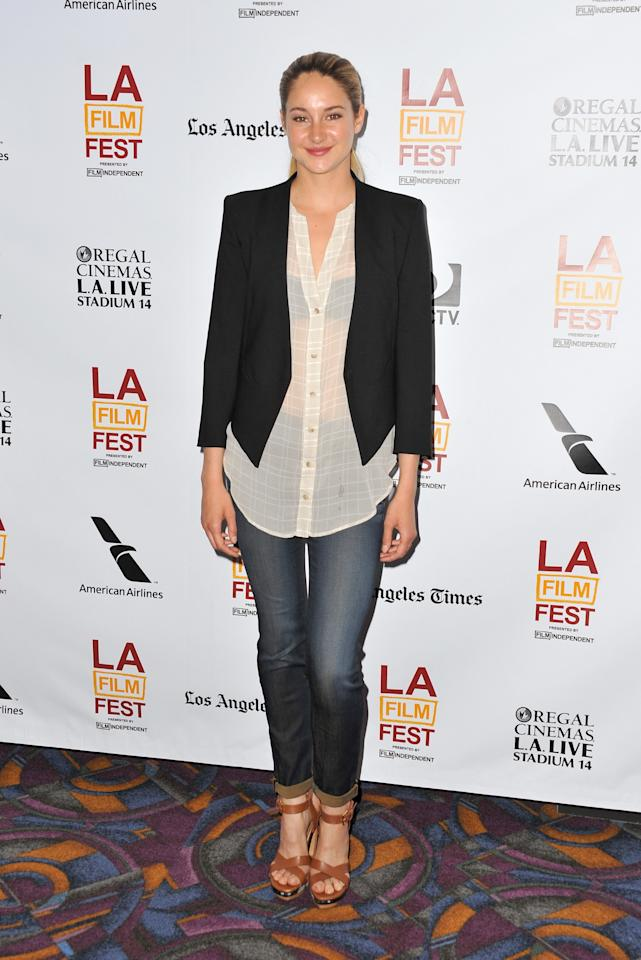 """LOS ANGELES, CA - JUNE 17:  Actress Shailene Woodley arrives at the premiere of A24's """"The Spectacular Now"""" during the 2013 Los Angeles Film Festival at Regal Cinemas L.A. Live on June 17, 2013 in Los Angeles, California.  (Photo by Angela Weiss/Getty Images)"""