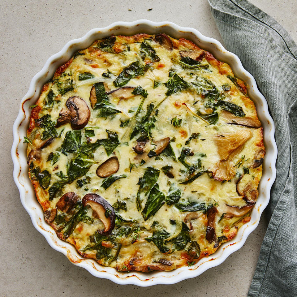 <p>This healthy vegetarian quiche recipe is as simple as it gets. It's a quiche without the fussy crust! It's filled with sweet wild mushrooms and savory Gruyère cheese. Enjoy it for breakfast or brunch, or serve it with a light salad for lunch.</p>