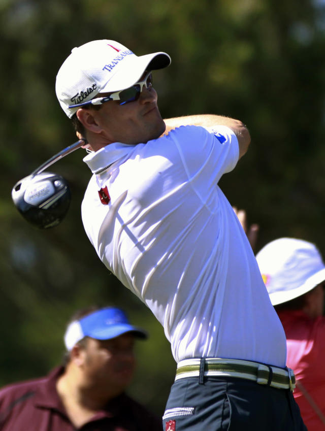 Zach Johnson hits from the ninth tee during the second round of the Players Championship golf tournament at TPC Sawgrass, Friday, May 11, 2012, in Ponte Vedra Beach, Fla. (AP Photo/John Raoux)