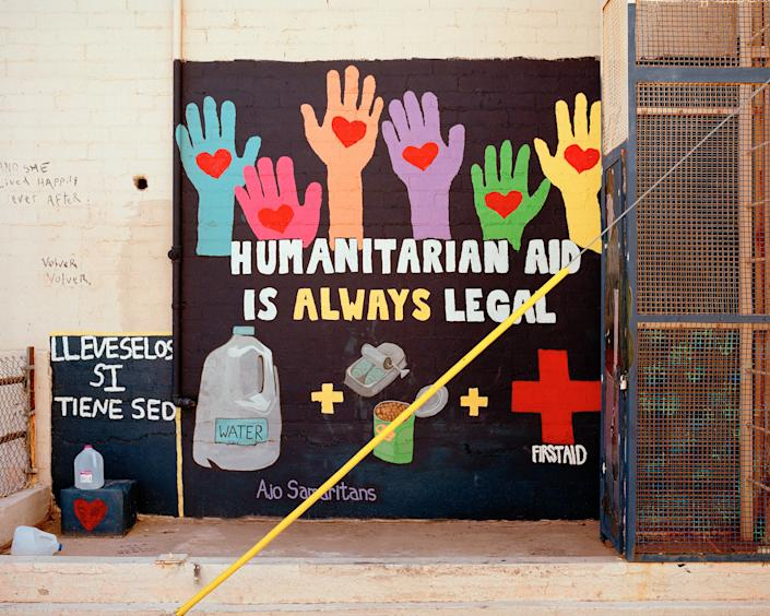 A mural in support of water and food drops is one of dozens in Ajo's