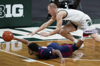 Detroit Mercy guard Antoine Davis (0) reaches for the ball after running into Michigan State forward Joey Hauser during the first half of an NCAA college basketball game Friday, Dec. 4, 2020, in East Lansing, Mich. (AP Photo/Carlos Osorio)