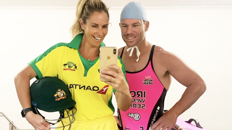 Candice and David Warner, pictured here after doing the 'flick the switch' challenge on Tik Tok.