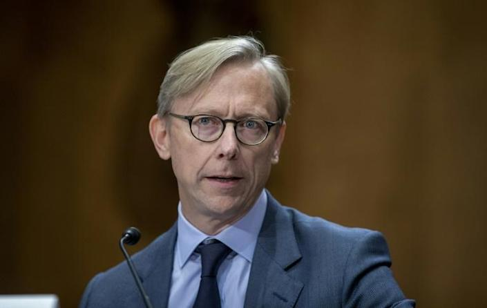 Brian Hook, the US pointman on Iran, testifies before a Senate hearing in October 2019 (AFP Photo/TASOS KATOPODIS)