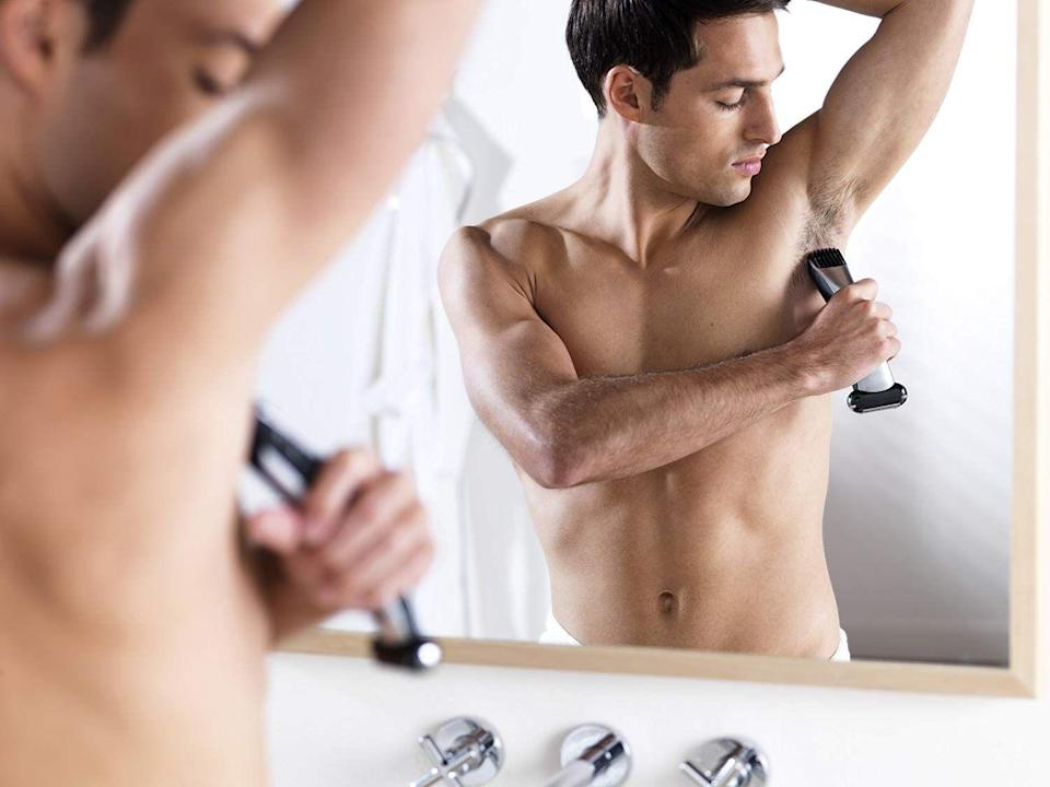 """<p><a href=""""https://www.menshealth.com/grooming/a21969313/how-to-manscape/"""" rel=""""nofollow noopener"""" target=""""_blank"""" data-ylk=""""slk:Manscaping"""" class=""""link rapid-noclick-resp"""">Manscaping </a>with the wrong equipment can be frustrating. Whether you like to be fully smooth or have a little bit of hair down there, you need a tool that's safe to use and has plenty of options. </p><p>If you've ever tried manscaping in <a href=""""https://www.menshealth.com/grooming/g19547093/7-must-follow-manscaping-tricks/"""" rel=""""nofollow noopener"""" target=""""_blank"""" data-ylk=""""slk:more sensitive areas"""" class=""""link rapid-noclick-resp"""">more sensitive areas</a>, you know it can be difficult not to cut or scratch yourself. That's why these body groomers are specially designed to target hair everywhere below the neck—private parts included. With features like long-lasting batteries, multiple guards in different lengths and contour technology, these devices will make it easy to keep your body hair under control.</p>"""