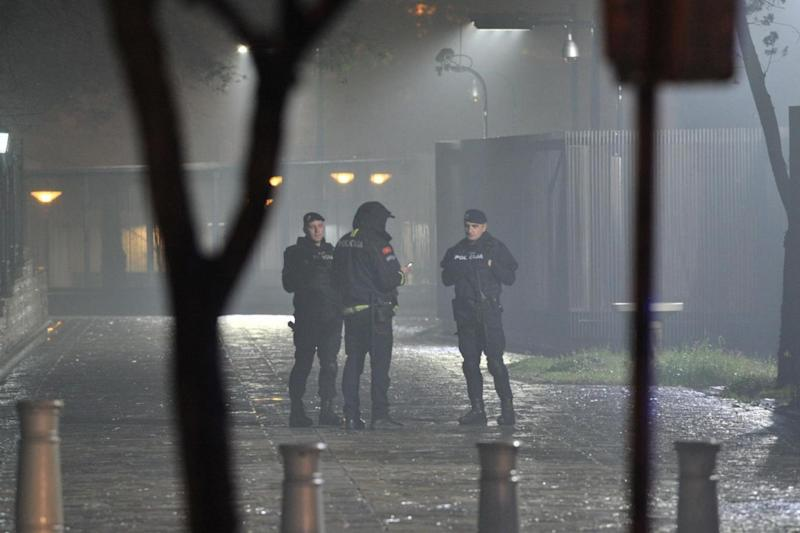 Montenegro: Officers surround the scene following the dramatic incident (AFP/Getty Images)