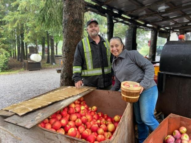 Darryl and Yazmin Maloney have owned and operated Log Cabin Orchard since 2009.  (Celeste Decaire/CBC - image credit)