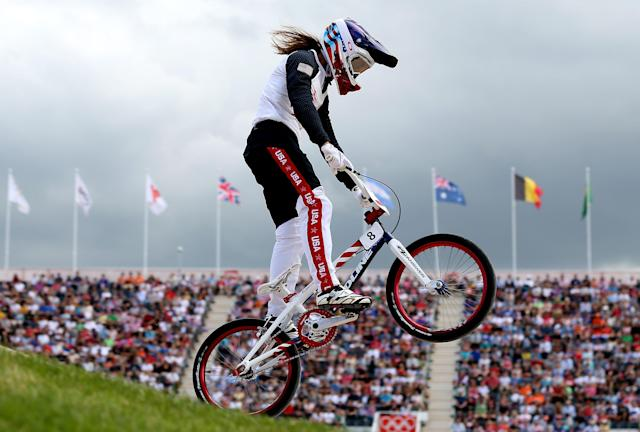 LONDON, ENGLAND - AUGUST 08: Alise Post of the United States during the Women's BMX Cycling on Day 12 of the London 2012 Olympic Games at BMX Track on August 8, 2012 in London, England. (Photo by Bryn Lennon/Getty Images)